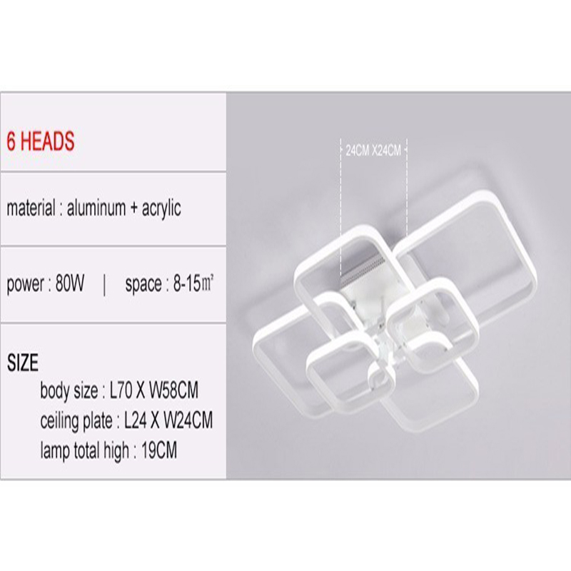 Remote Control Dimming 6 Heads Modern Led Ceiling Lamp Fixture Den Hoa Tin